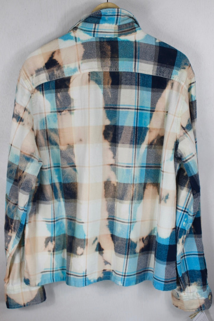 Vintage Turquoise, White, Cream & Peach Flannel Size Large