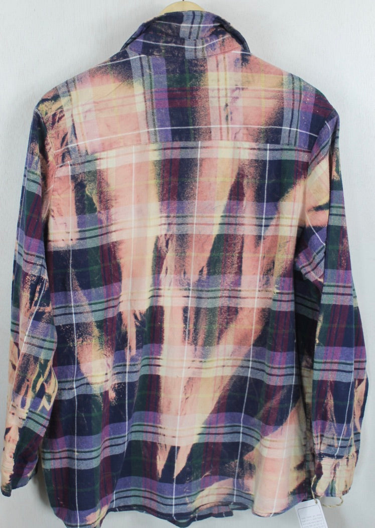 Vintage Deep Purple, Navy and Pink Flannel Size Large