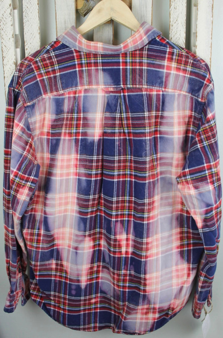 Grunge Red, White, and Navy Blue Flannel Size Medium