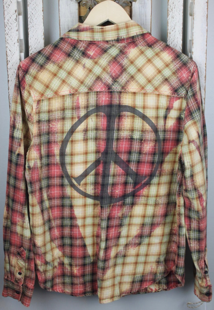 Vintage Peach, Yellow, Cream, and Light Green Flannel Size Small