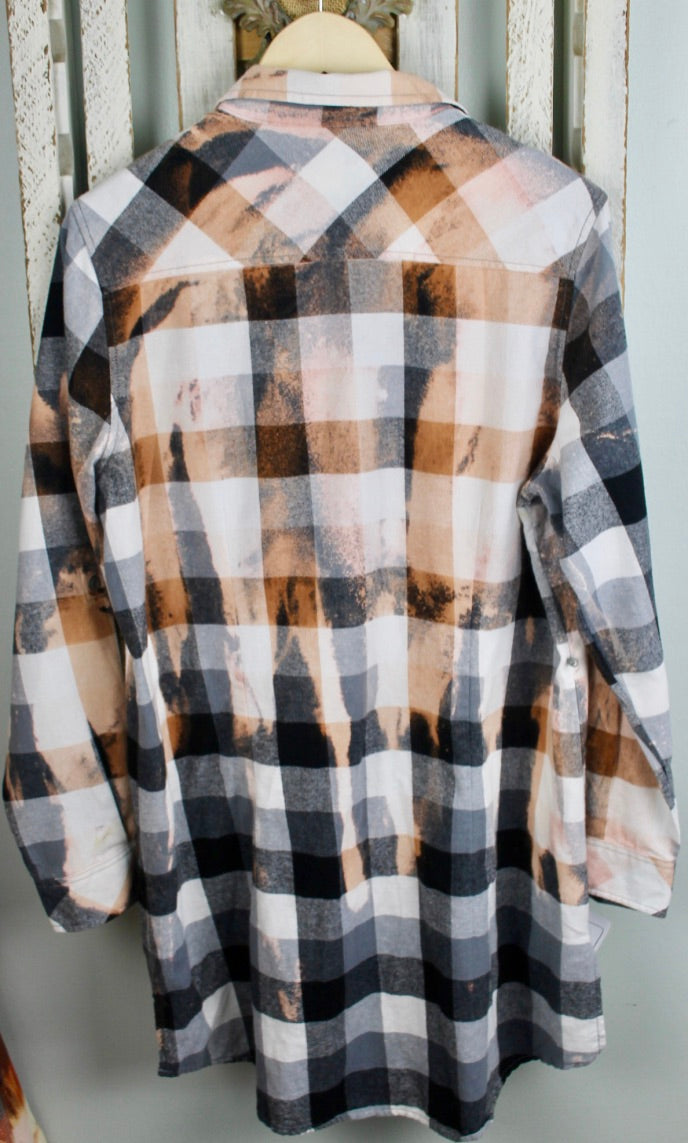 Vintage Black, White, and Gold Flannel Dress Size Small