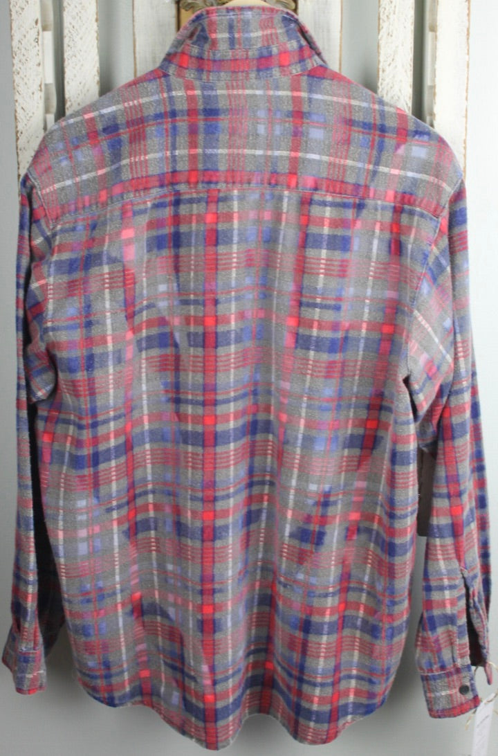 Vintage Grey, Blue, and Red Flannel Size Medium