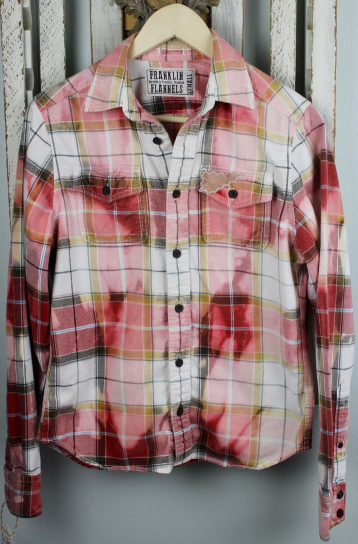 Vintage Red, Light Pink, Grey, and White Flannel Size Extra Small