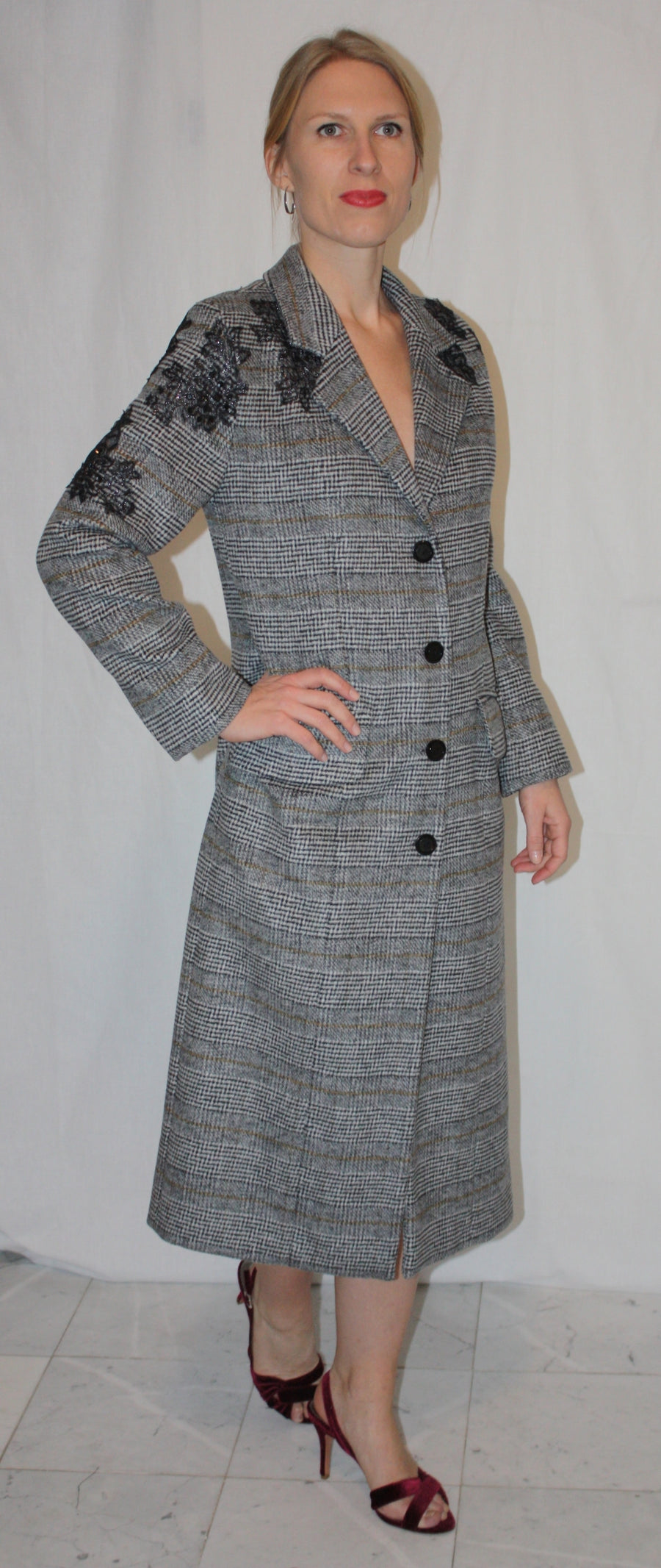 MIXED CASHMIR COAT WITH EMBELLISHMENTS