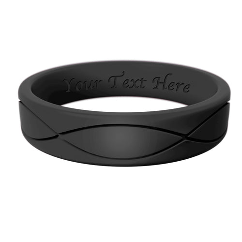 Women's Black Infinity Silicone Ring - Hypoallergenic