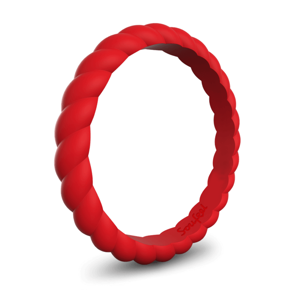 Women's Braided Stackable Red Silicone Ring