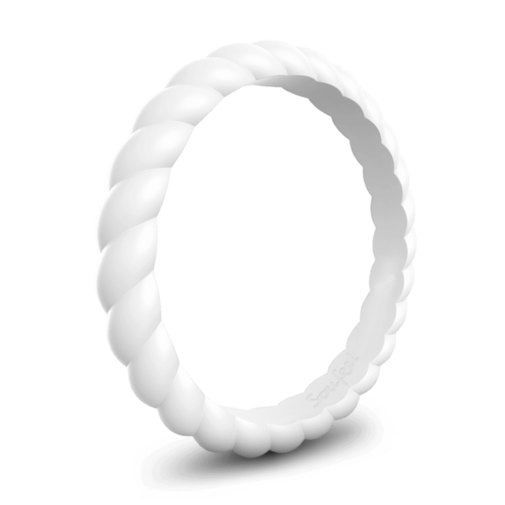 Women's Braided Stackable White Silicone Ring