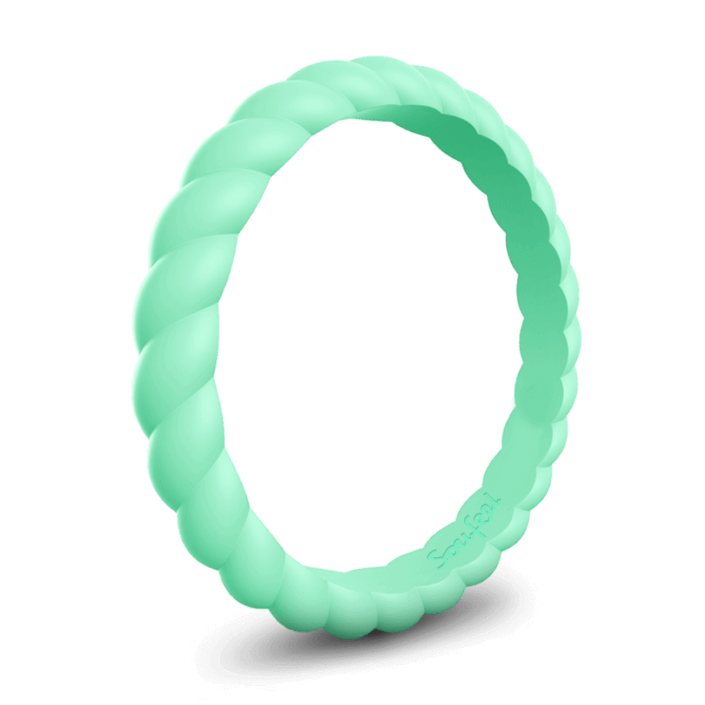 Women's Braided Stackable Mint Green Silicone Ring