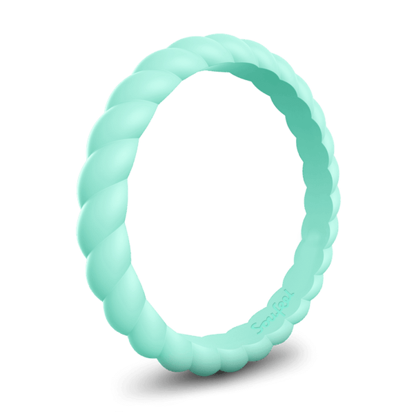 Women's Braided Stackable Turquoise Silicone Ring