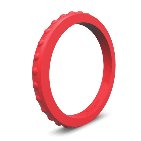 Women's Studded Stackable Red Silicone Ring