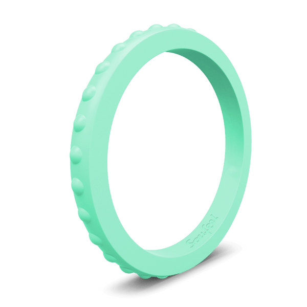 Women's Studded Stackable Mint Green Silicone Ring