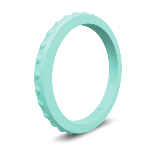 Women's Studded Stackable Aquamarine Silicone Ring