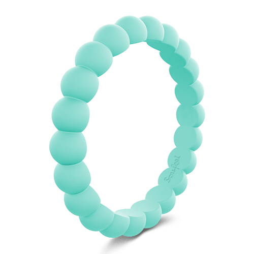 Women's Round Stackable Aquamarine Silicone Ring