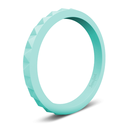 Women's Pyramid Stackable Aquamarine Silicone Ring