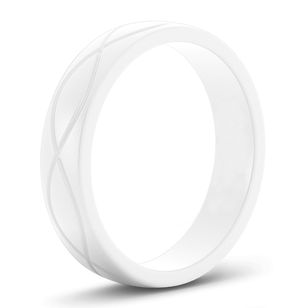 Women's White Infinity Silicone Ring - Hypoallergenic