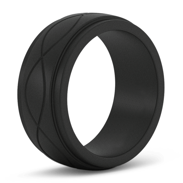 Men's Black Infinity Silicone Ring - Hypoallergenic