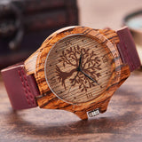 Wood Tree Watch -  Burgandy Leather