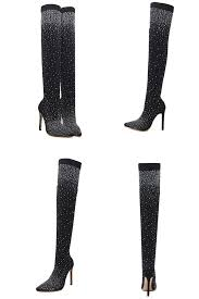 Eilyken Fashion Runway Crystal Stretch Fabric Sock Boots