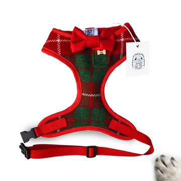 Hello Christmas - Hand-made, authentic British wool harness with red bow-tie, pocket and bone button – XS, S, M, L, XL & Custom