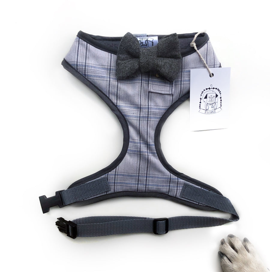 Sir David - Hand-made, shirting fabric harness with Donegal tweed bow-tie, pocket and bone button – XS, S, M, L & Custom