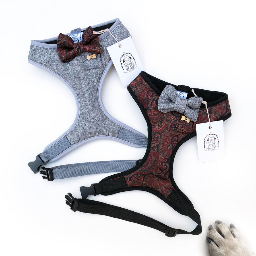 Debonair Damien - Hand-made, luxury silk harness with tweed bow-tie, pocket and bone button – XS, S, M, L & Custom