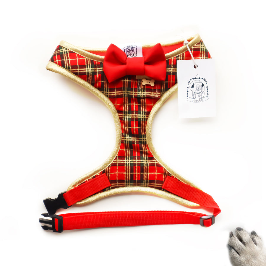 Sir Emmanuelle - Hand-made, red and gold foil tartan harness with red bow-tie, pocket and bone button – XS, S, M, L, XL & Custom