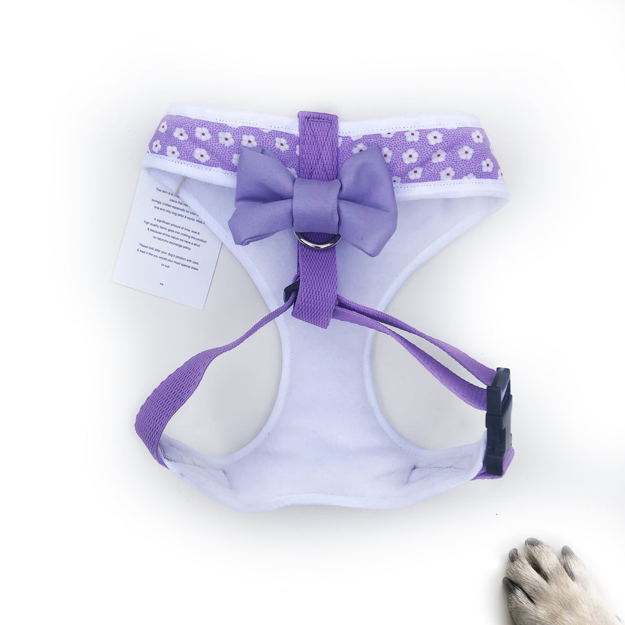 Lady Hayley - Hand-made, Lilac daisy print harness with pocket and bone button – XS, S, M, L & Custom