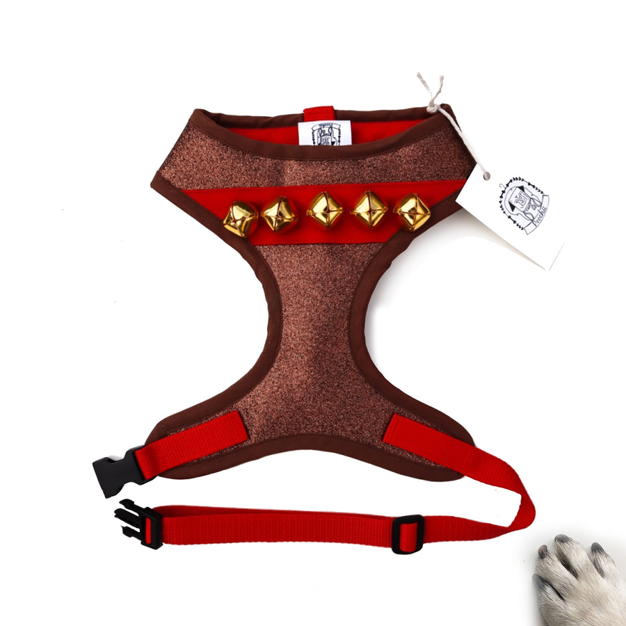 Hello Rudolf - Hand-made, Rudolf the Reindeer glitter harness with authentic gold jingle bells – XS, S, M, L, XL & Custom