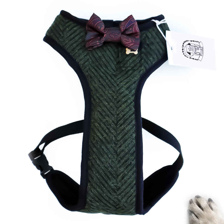 Hello Big Dogs - Sir Cassius - Hand-made, luxury tweed harness with silk paisley bow-tie, pocket and bone button - CUSTOM BIG DOG