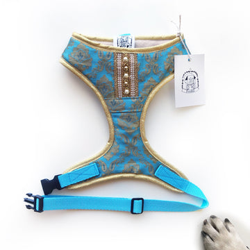 Indian Summer - Sky Blue Bollywood style harness with luxury Indian fabric - XS, S, M, L, XL & Custom