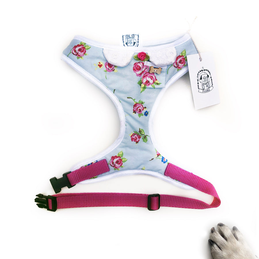 Lady Ella- Hand-made, English rose print harness with pocket and bone button – XS, S, M, L & Custom