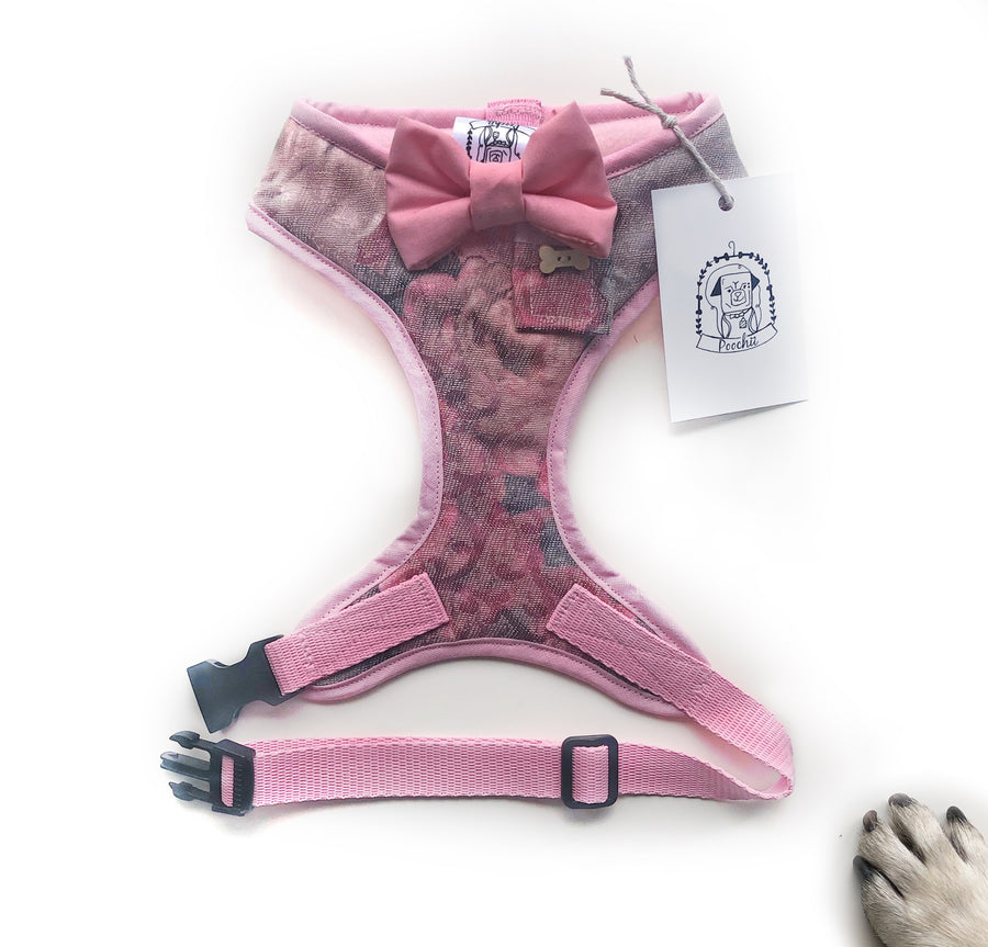 Lady Matilda - Hand-made, luxury pink floral harness with big pink bow  – XS, S, M, L, XL & Custom