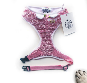 Lady Mila - Hand-made, luxury 3d rose harness with pixie collar & rose  – XS, S, M, L, XL & Custom