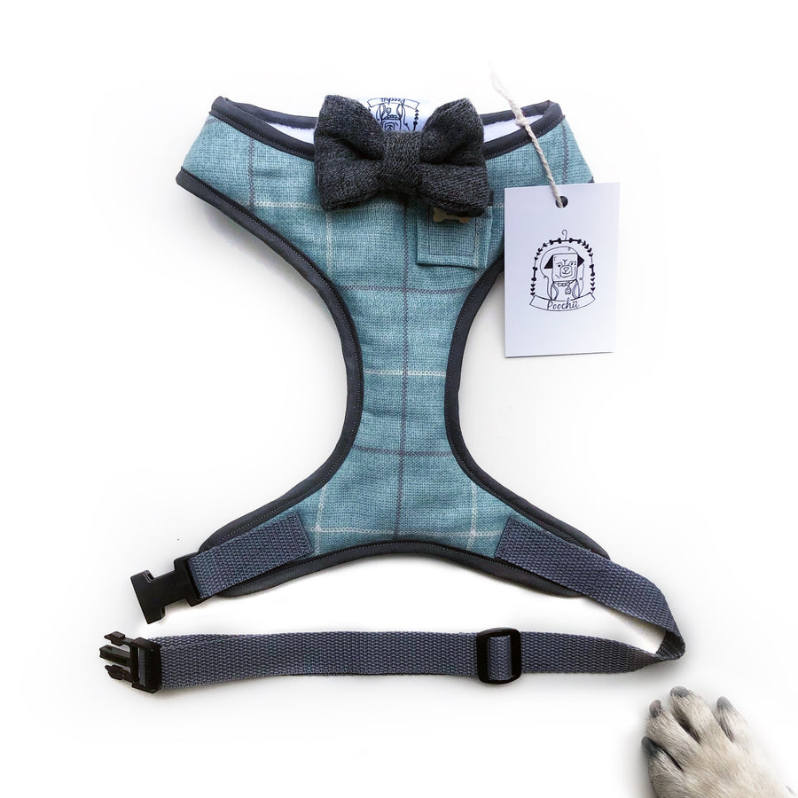 Sir Noah - Hand-made, plaid harness with grey bow-tie, pocket and bone button – XS, S, M, L & Custom