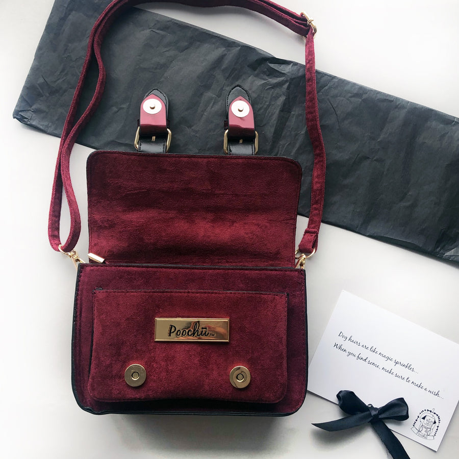 The Madison Burgundy - Luxury, faux suede satchel bag with gold signature logo tag