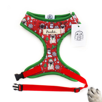 Santa Pug is Coming to Town - Hand-made, authentic custom illustrated pug christmas harness with gold label tag  – XS, S, M, L, XL & Custom