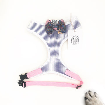 Sir Silvano - Hand-made, linen shirting fabric harness with paisley bow-tie, pocket and bone button – XS, S, M, L & Custom