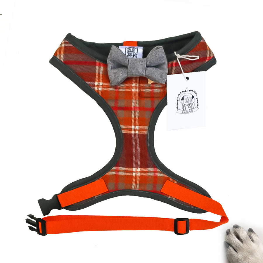 Sir Bruce - Hand-made, orange tartan harness with grey wool bow-tie, pocket & bone button – XS, S, M, L, XL & Custom