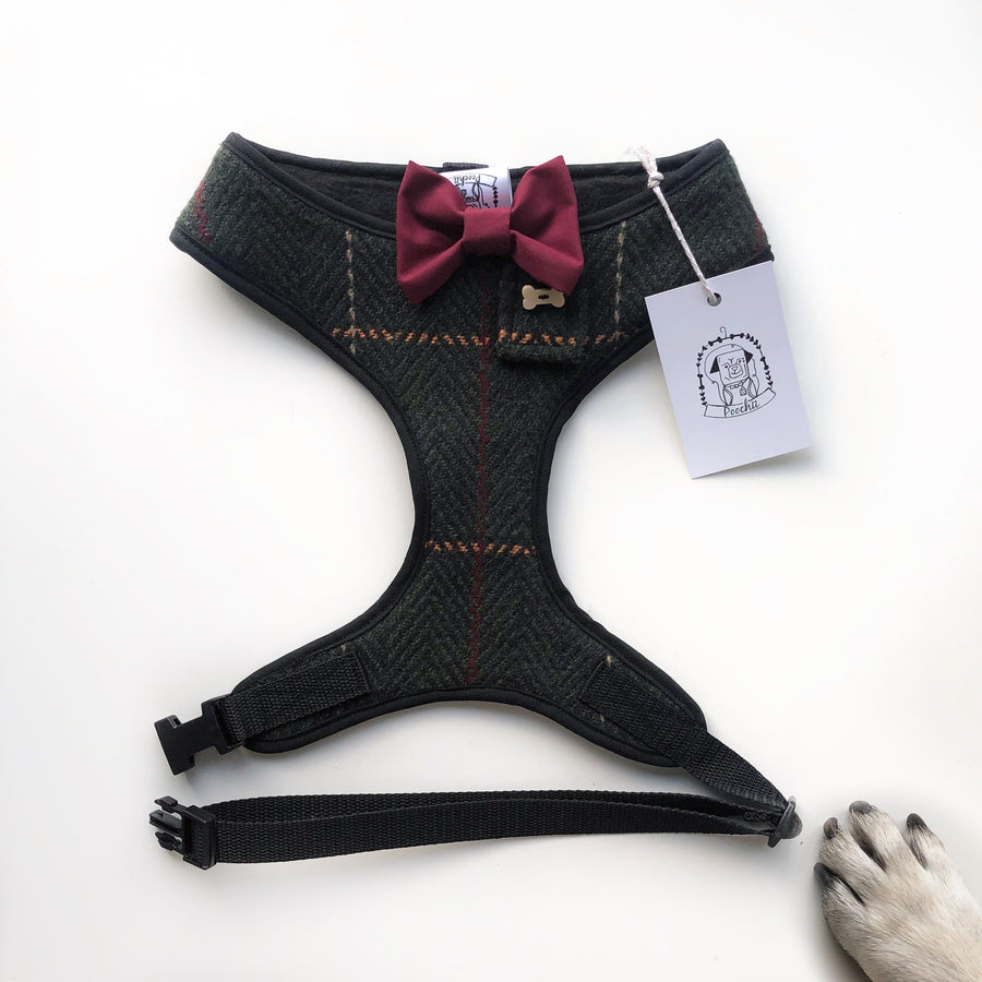 Sir Augustus (Front of harness) - Hand-made, authentic tweed harness with Burgundy bow-tie, pocket and bone button – XS, S, M, L, XL & Custom