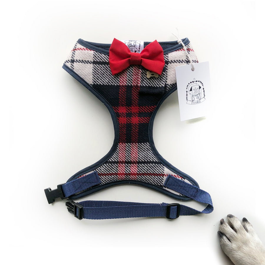 Sir Cyril - Hand-made, authentic British wool harness with red bow-tie, pocket and bone button – XS, S, M, L, XL & Custom