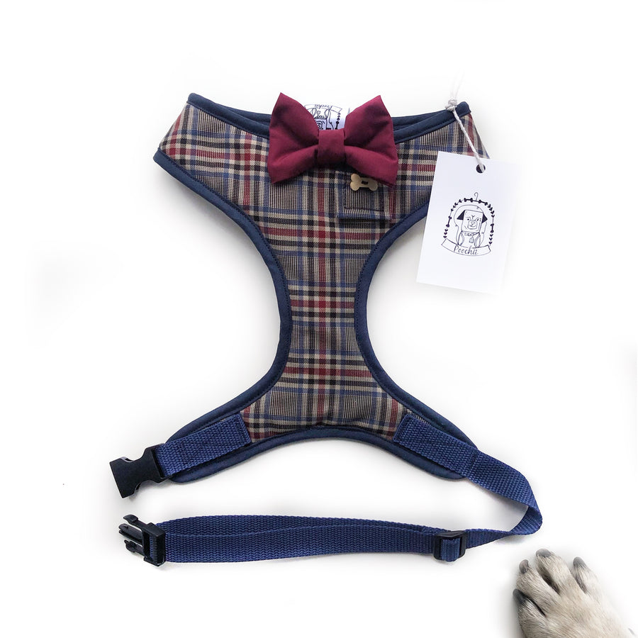 Sir Gareth - Hand-made, authentic gabardine twill harness with burgundy bow-tie, pocket and bone button – XS, S, M, L, XL & Custom