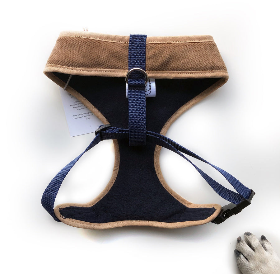 Sir Horace - Hand-made, corduroy fabric harness with navy paisley bow-tie, pocket and bone button – XS, S, M, L & Custom