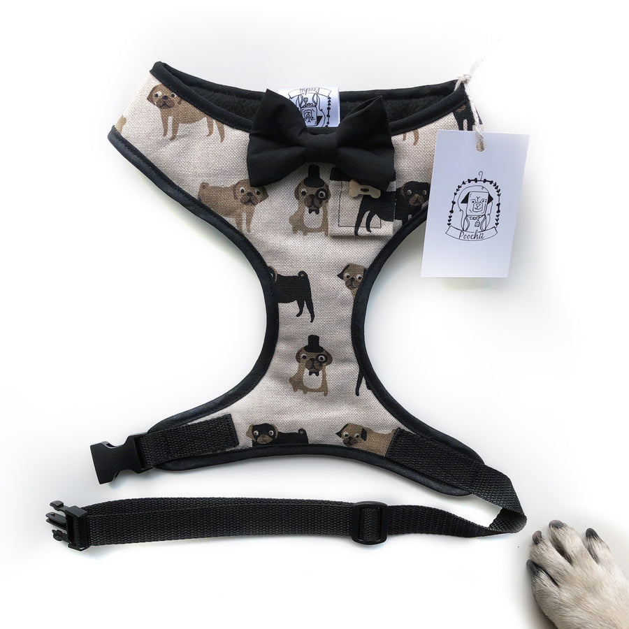 Sir Newton - Hand-made, Fenella Smith pug print harness with bow-tie, pocket and bone button – XS, S, M, L, XL & Custom
