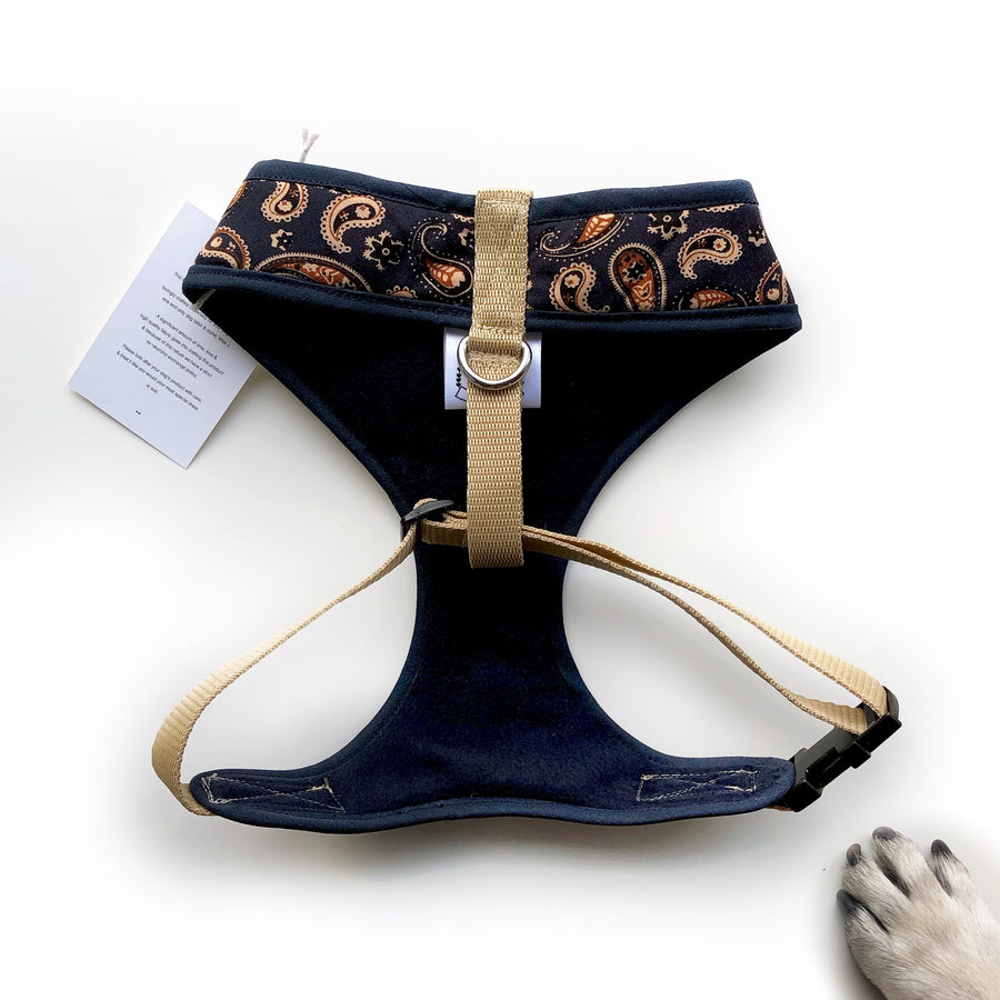 Sir Hugo - Hand-made, paisley fabric harness with corduroy bow-tie, pocket and bone button – XS, S, M, L & Custom