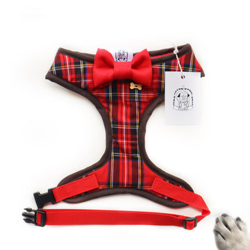 Sir Rory - Hand-made, Scottish style tartan harness with red bow-tie, pocket and bone button – XS, S, M, L, XL & Custom