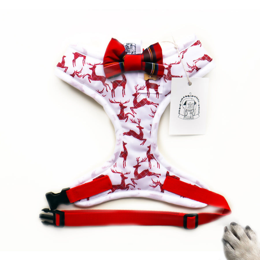 Dashing through the snow - Hand-made, reindeer print harness with christmas tartan style bow-tie, pocket and bone button – XS, S, M, L, XL & Custom