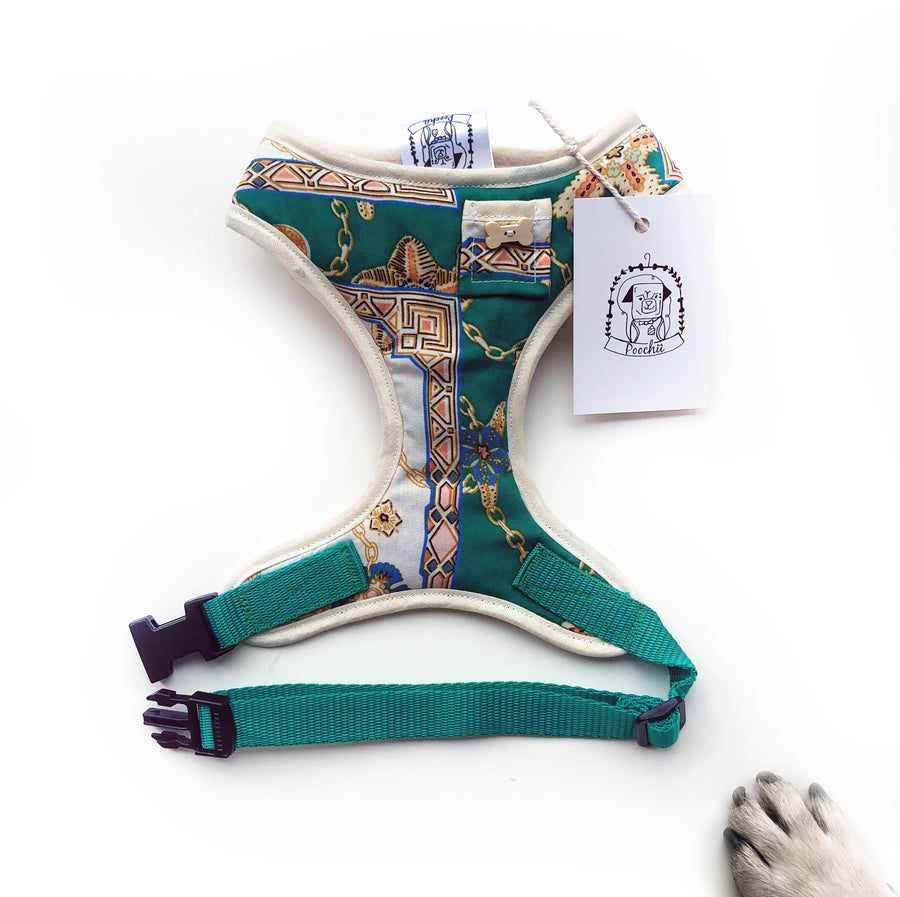 The Donatello - Hand-made, Versace inspired print harness with pocket and bone button – XS, S, M, L & Custom