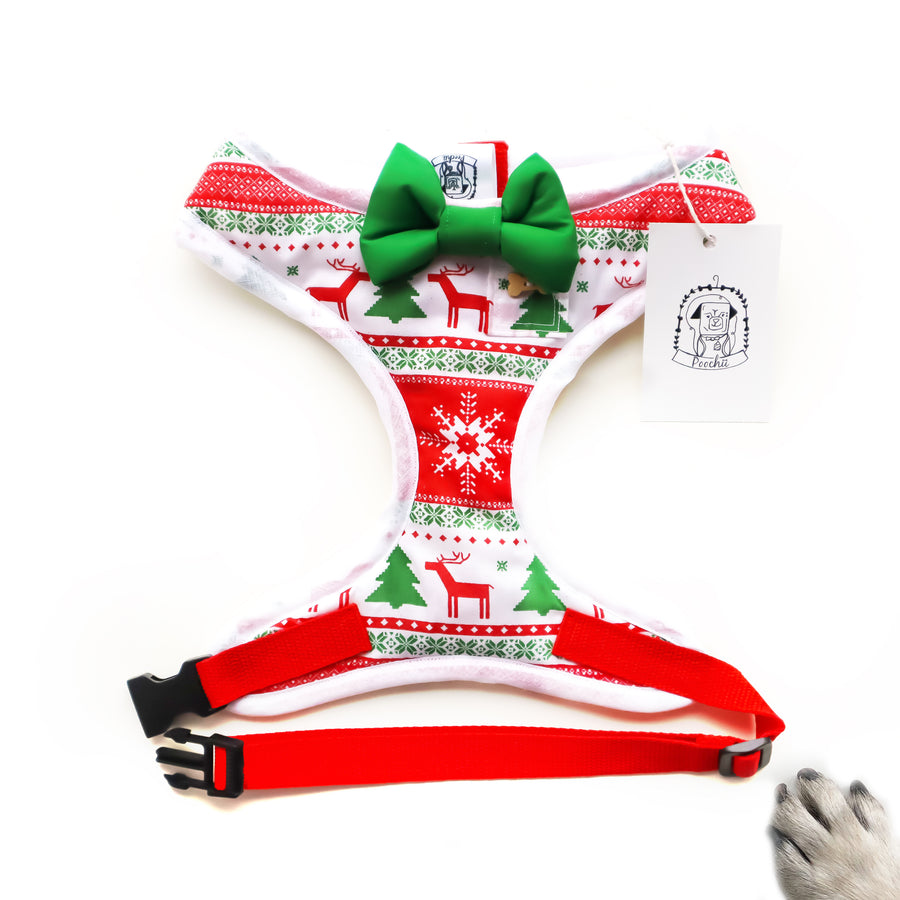 Fair Isle Fabulous - Hand-made, Fair Isle print harness with green bow-tie, pocket and bone button – XS, S, M, L, XL & Custom