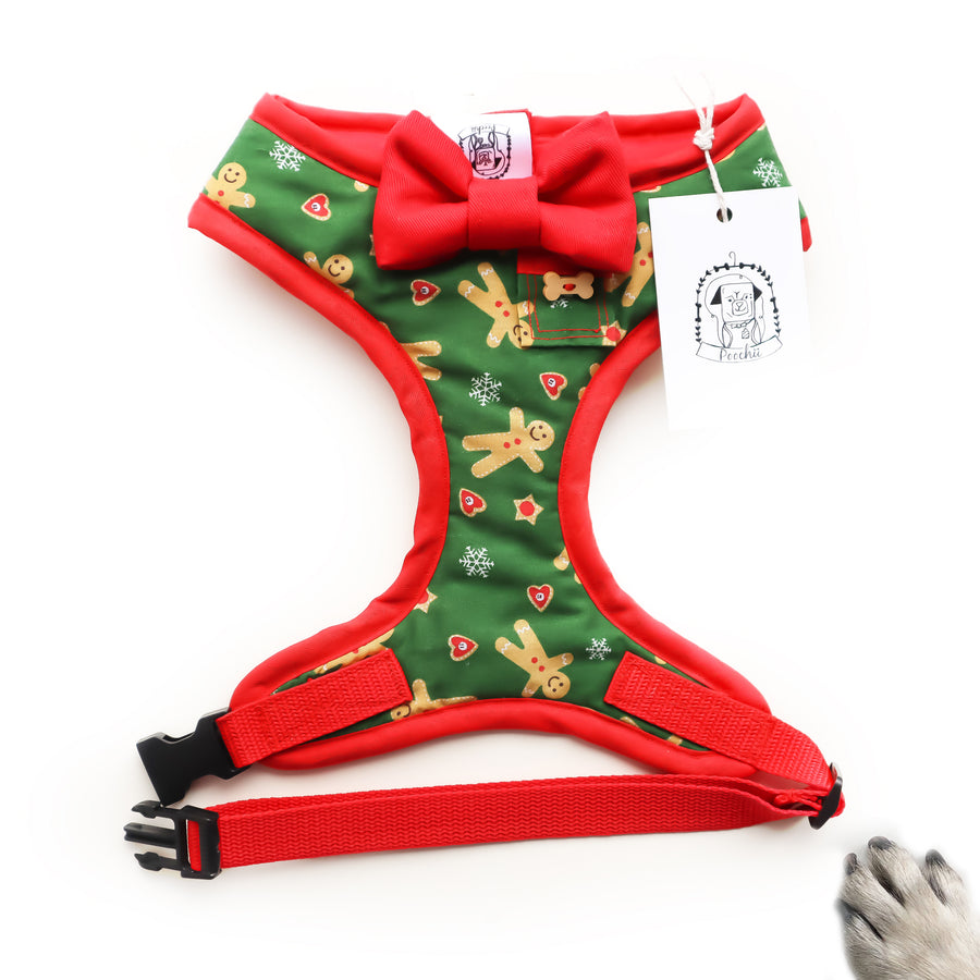 Gingerbread Love - Hand-made, gingerbread print harness with red bow-tie, pocket and bone button – XS, S, M, L, XL & Custom