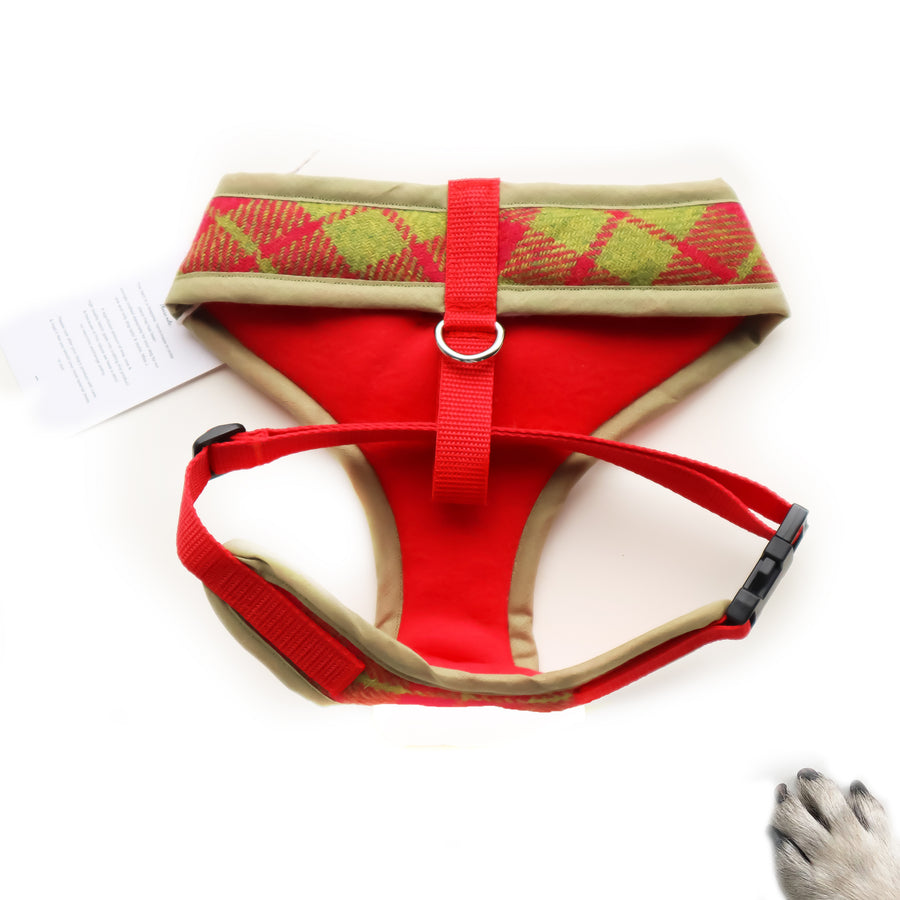 Hello Grinch - Hand-made, cerise and green Scottish tweed harness with red bow-tie, pocket and bone button – XS, S, M, L, XL & Custom